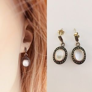 Oval Mother of Pearl and Marcasite Dangle Earrings